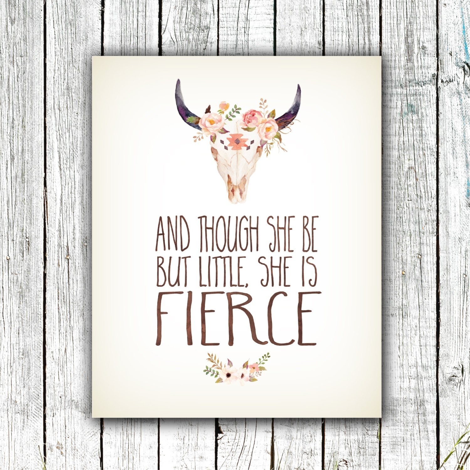 Nursery Art Printable, And Though She Be But Little She Is Fierce For Though She Be But Little She Is Fierce Wall Art (Photo 13 of 20)