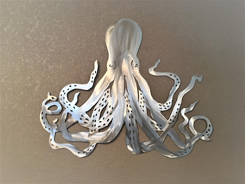 Octopus Metal Wall Art. Ocean Life, Saltwater Series. Octopus in Octopus Wall Art (Image 13 of 20)