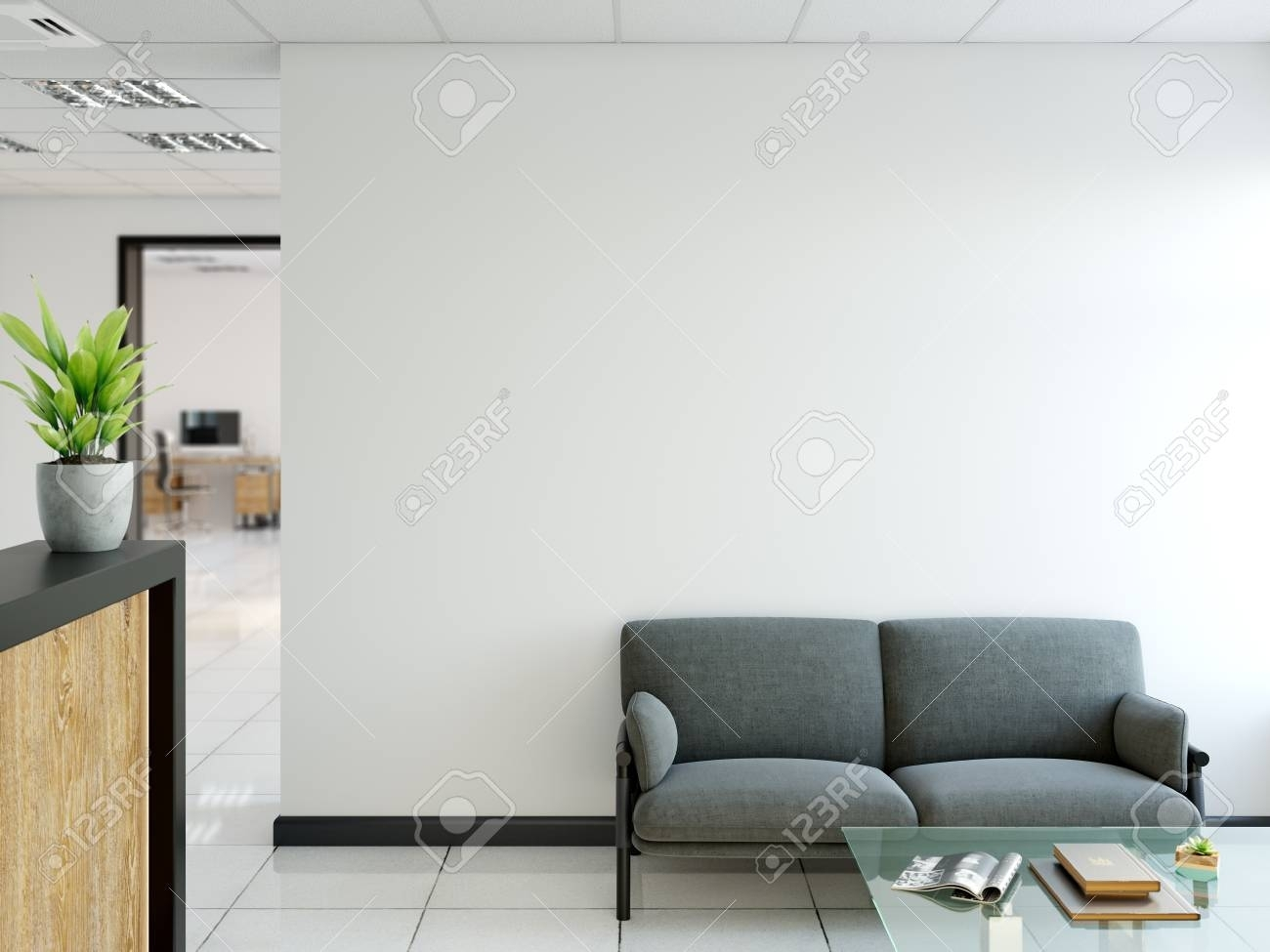 Office Wall Mock Up Interior. Wall Art. 3D Rendering, 3D intended for Office Wall Art (Image 17 of 20)
