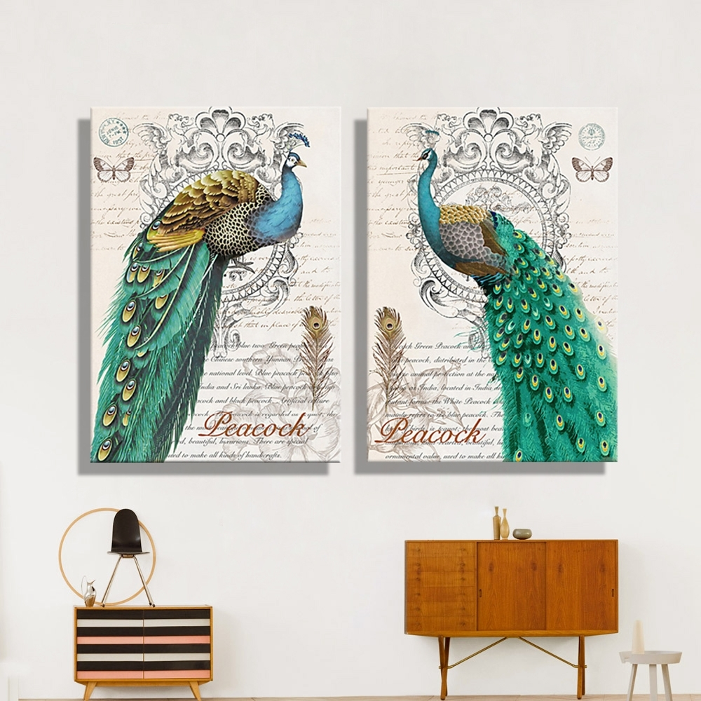 Oil Painting Canvas Abstract Green Peacock Wall Art Decoration Pertaining To Peacock Wall Art (View 1 of 20)