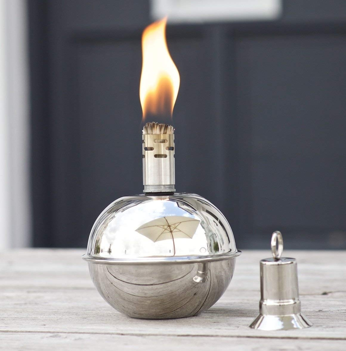 Oil Torch Garden - Round Stainless Steel Ball - Table Or Patio Oil with regard to Outdoor Oil Lanterns For Patio (Image 7 of 20)