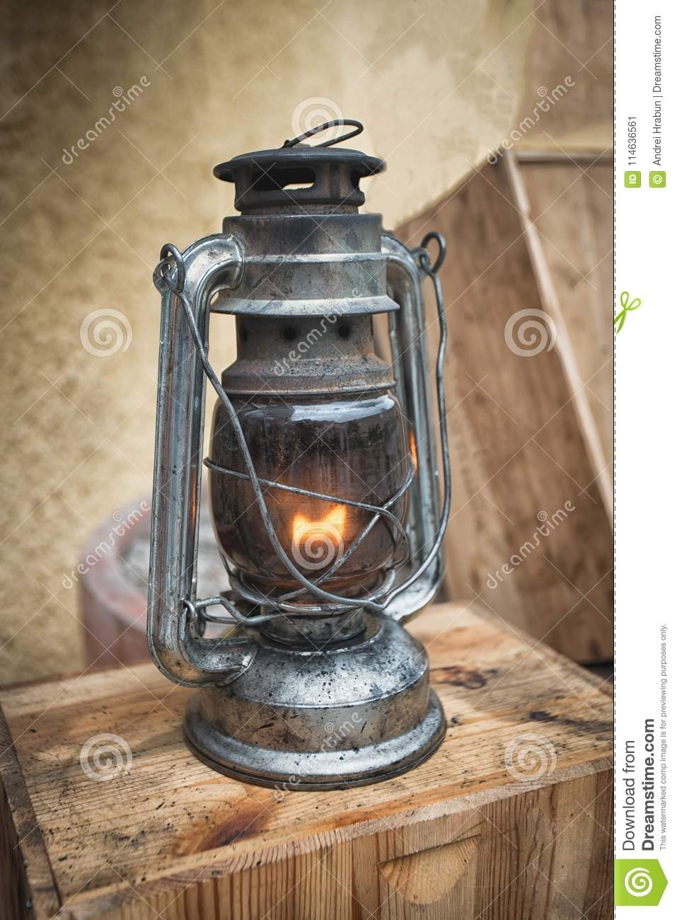 Old Fashioned Lantern On The Wooden Table (View 11 of 20)