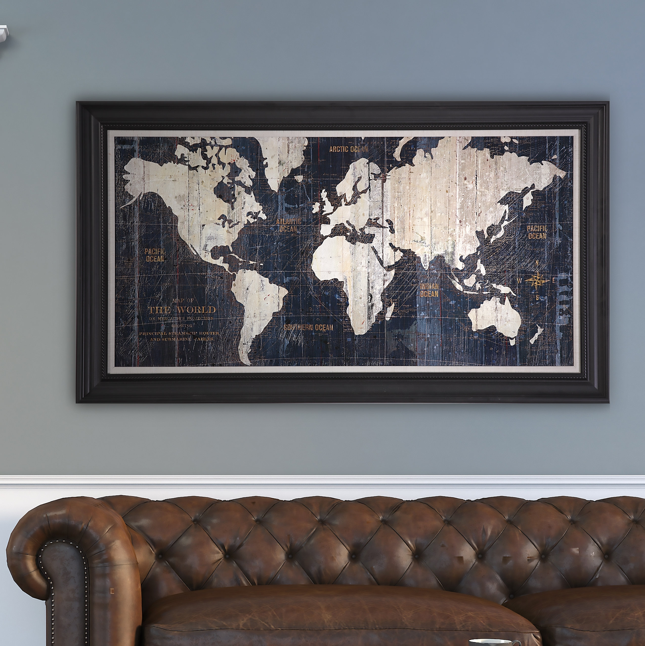 Old World Map Blue' Framed Graphic Art On Wrapped Canvas & Reviews with Old World Map Wall Art (Image 10 of 20)