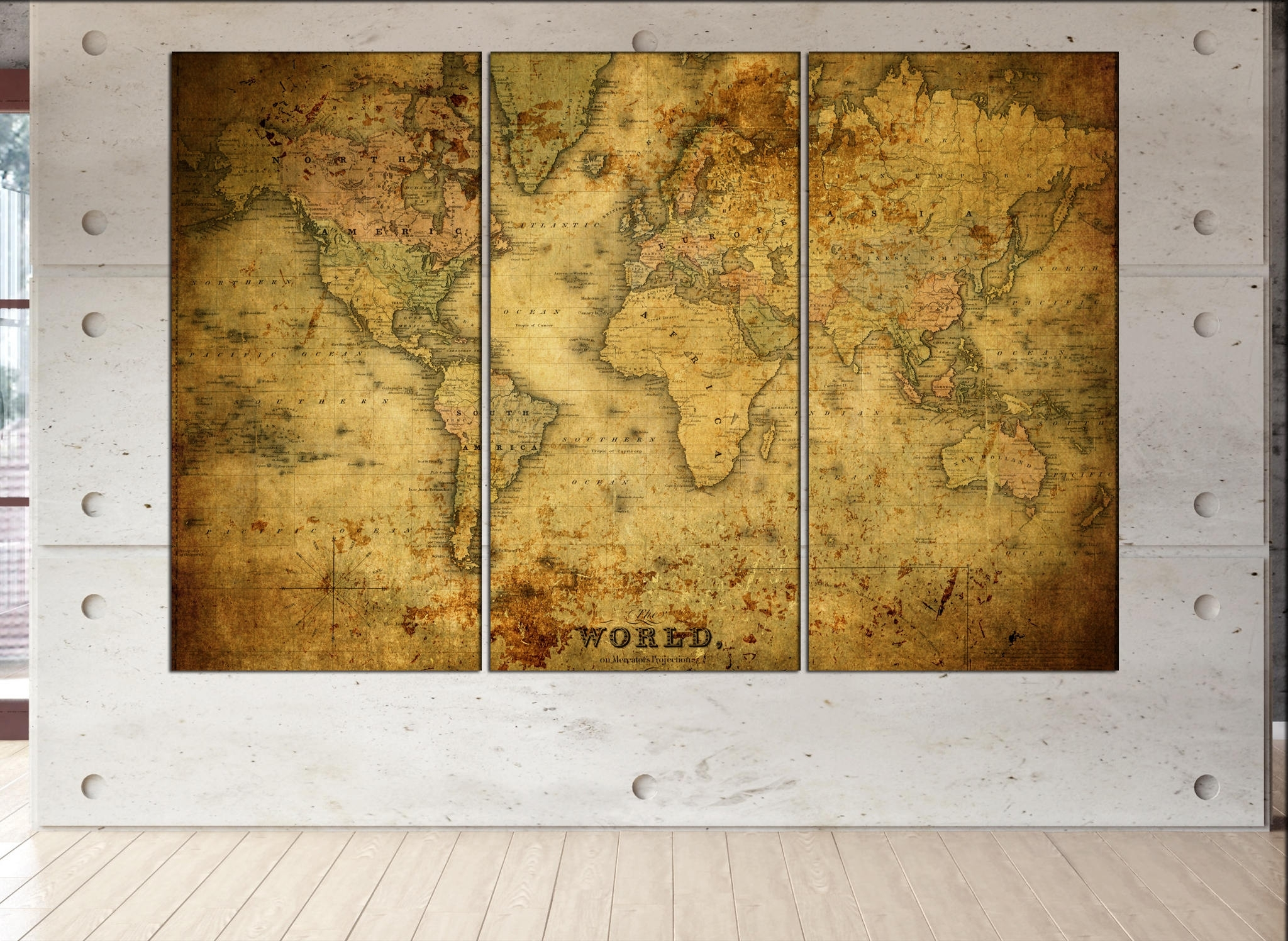 Old World Map Canvas Wall Art Print On Canvas Wall Art Old World Map intended for Old World Map Wall Art (Image 11 of 20)