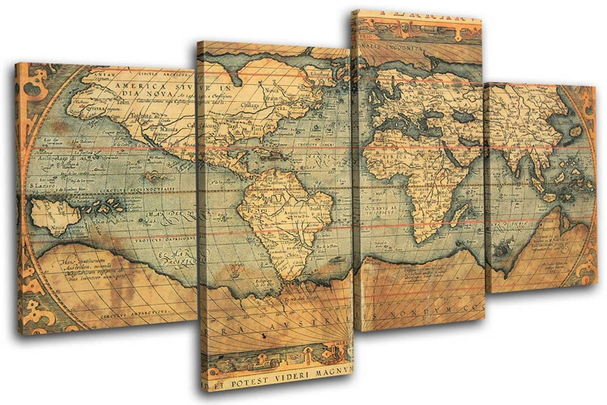 Old World Map Wall Art Ideas With Piece Set Home Interior Vintage in Old World Map Wall Art (Image 12 of 20)