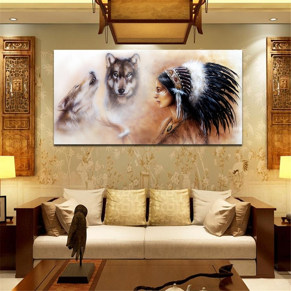Oleo Unframed Room Decor Native American On Canvas Huge Wall Art Oil For Huge Wall Art (View 10 of 20)