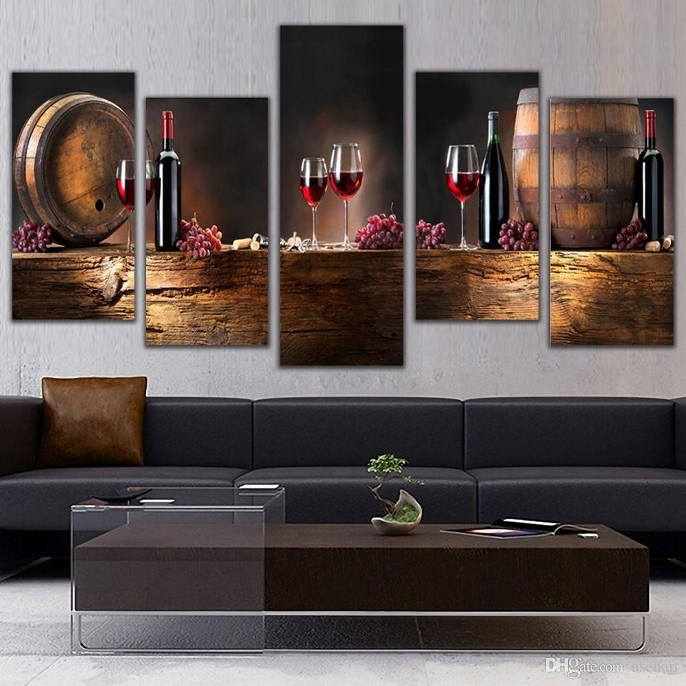 Online Cheap 5 Panel Wall Art Fruit Grape Red Wine Glass Picture Art With Regard To Kitchen Canvas Wall Art Decors (View 4 of 20)