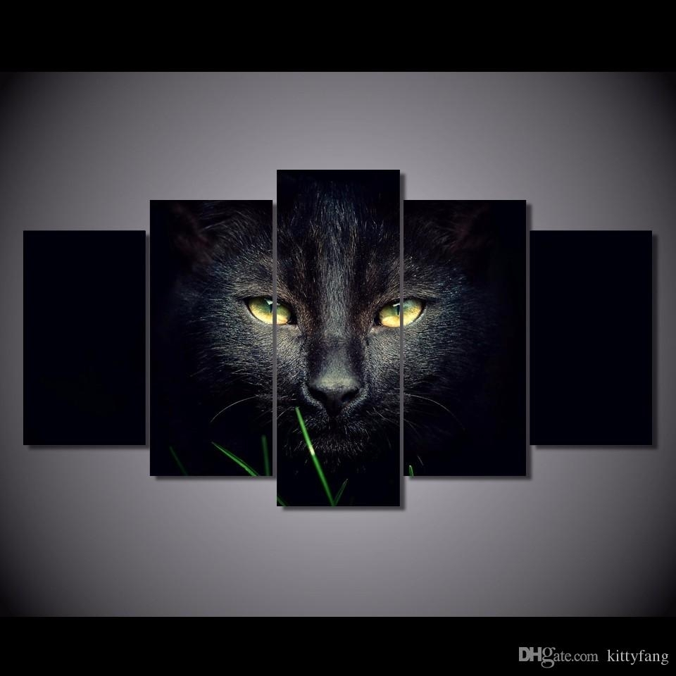 Online Cheap Framed Hd Printed Black Cat Animal Wall Art Canvas Pertaining To Cat Canvas Wall Art (View 15 of 20)