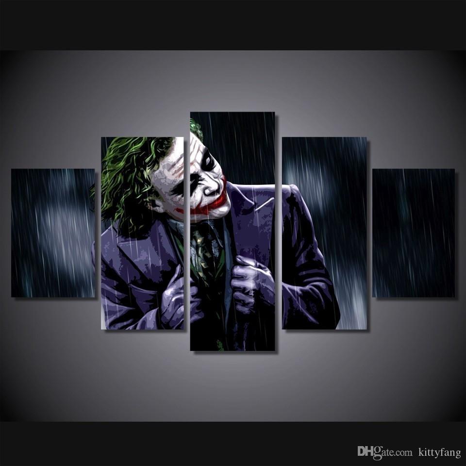 Online Cheap Framed Hd Printed The Joker Dark Knight Picture Wall in Joker Wall Art (Image 17 of 20)