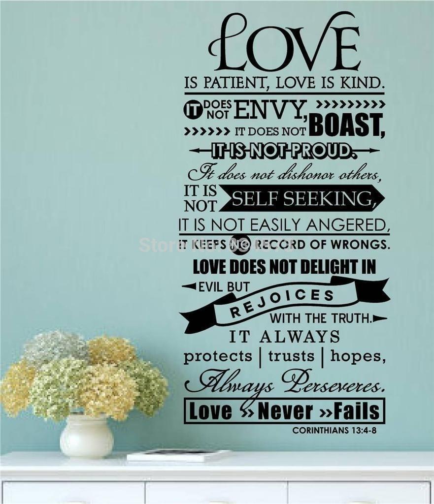 Online Shop Aiwall Bible Verse Love Is Patient Kind Quote Wall Art In Love Is Patient Wall Art (View 13 of 20)