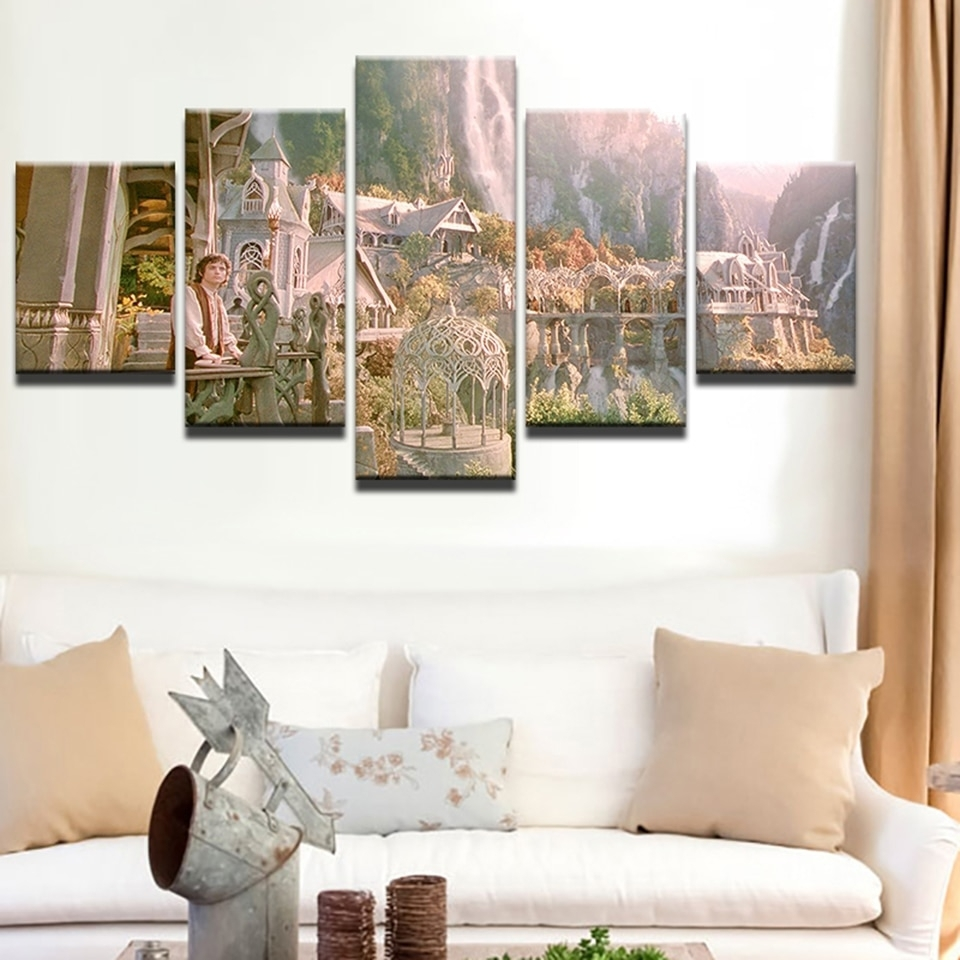 Online Shop Wall Art Canvas Painting Home Decor Hd Prints 5 Pieces pertaining to Lord of the Rings Wall Art (Image 18 of 20)