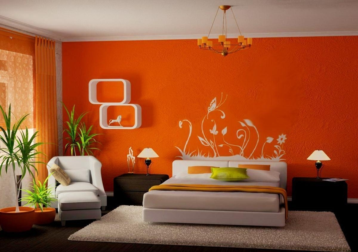 Orange Wall Art Design And White Square Large Rugs Under Without with Bedroom Wall Art (Image 18 of 20)