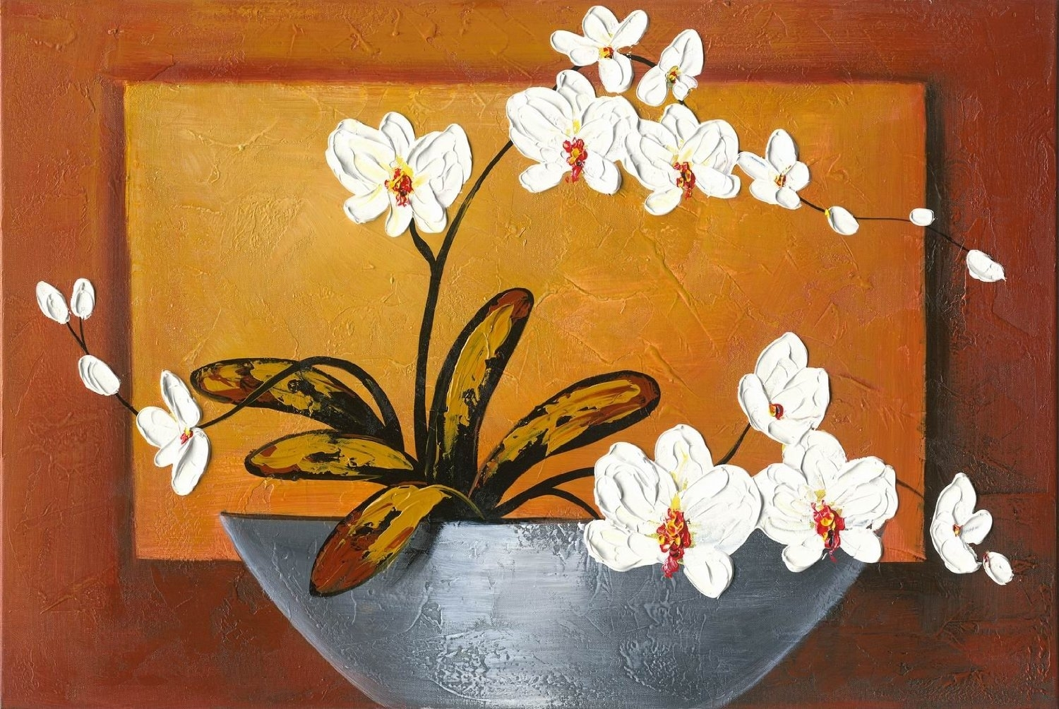 Orchid-Modern Canvas Art Wall Decor-Floral Oil Painting Wall Art pertaining to Modern Framed Wall Art Canvas (Image 16 of 20)