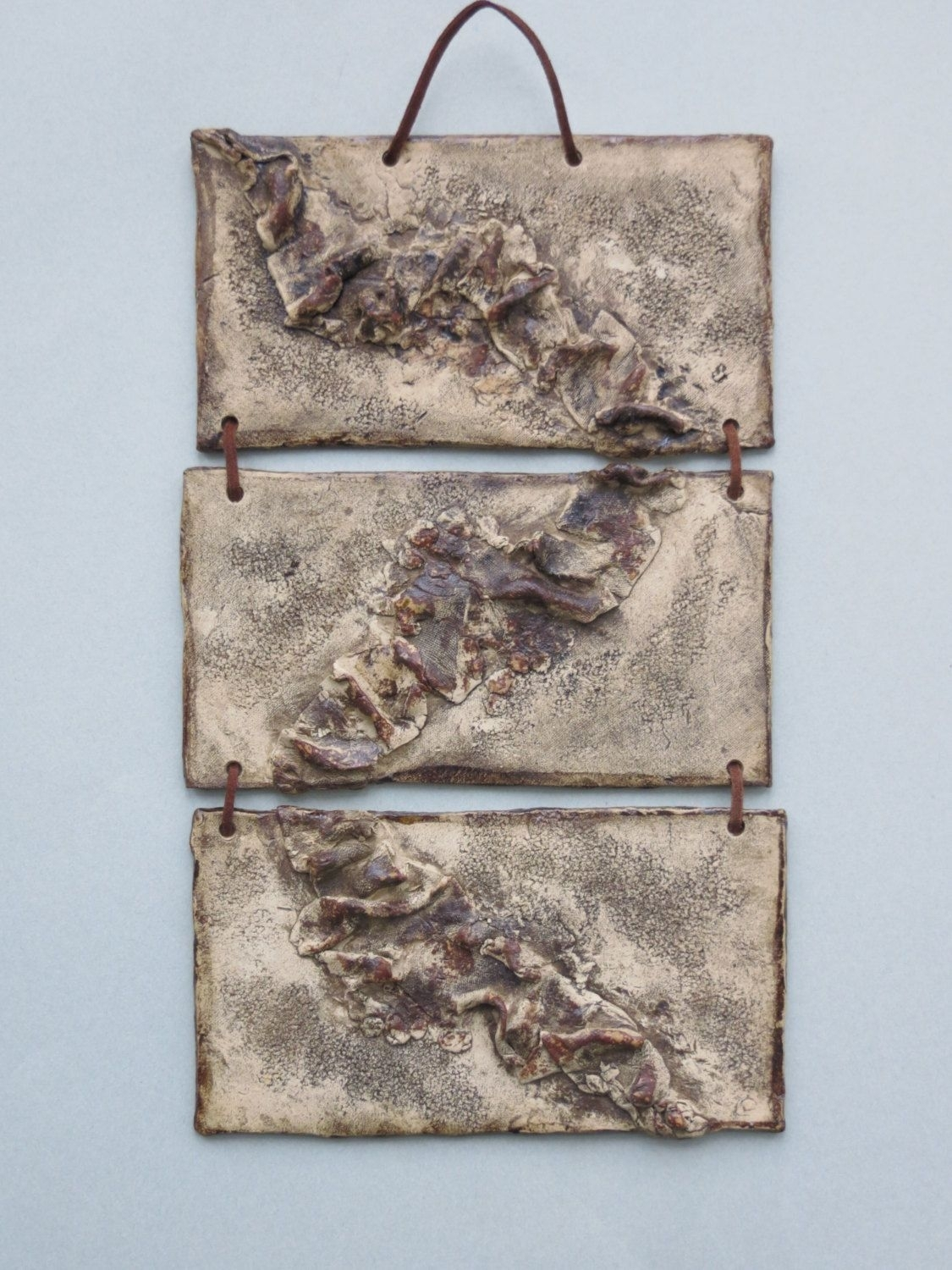 Organic Abstract Ceramic Wall Hanging Earth Tone Clay Wall Art intended for Ceramic Wall Art (Image 19 of 20)
