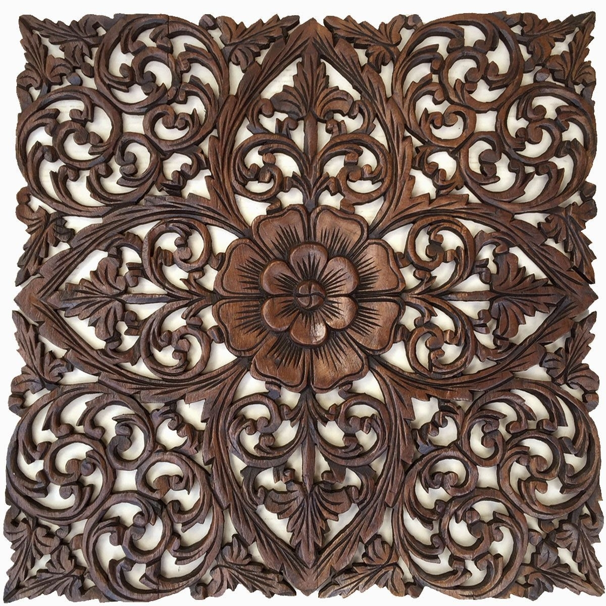 Oriental Hand Carved Wood Wall Plaques. Large Square Floral Wood with regard to Carved Wood Wall Art (Image 15 of 20)