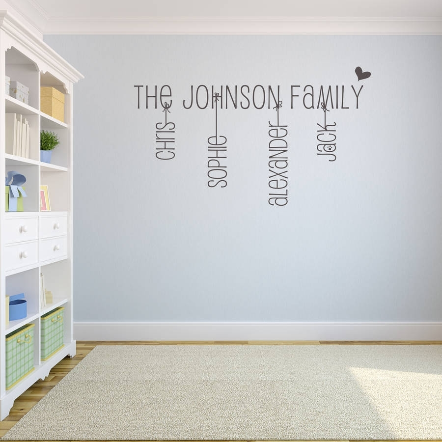 Original Family Name Wall Sticker Fancy Name Wall Art – Home Design With Family Name Wall Art (View 2 of 20)