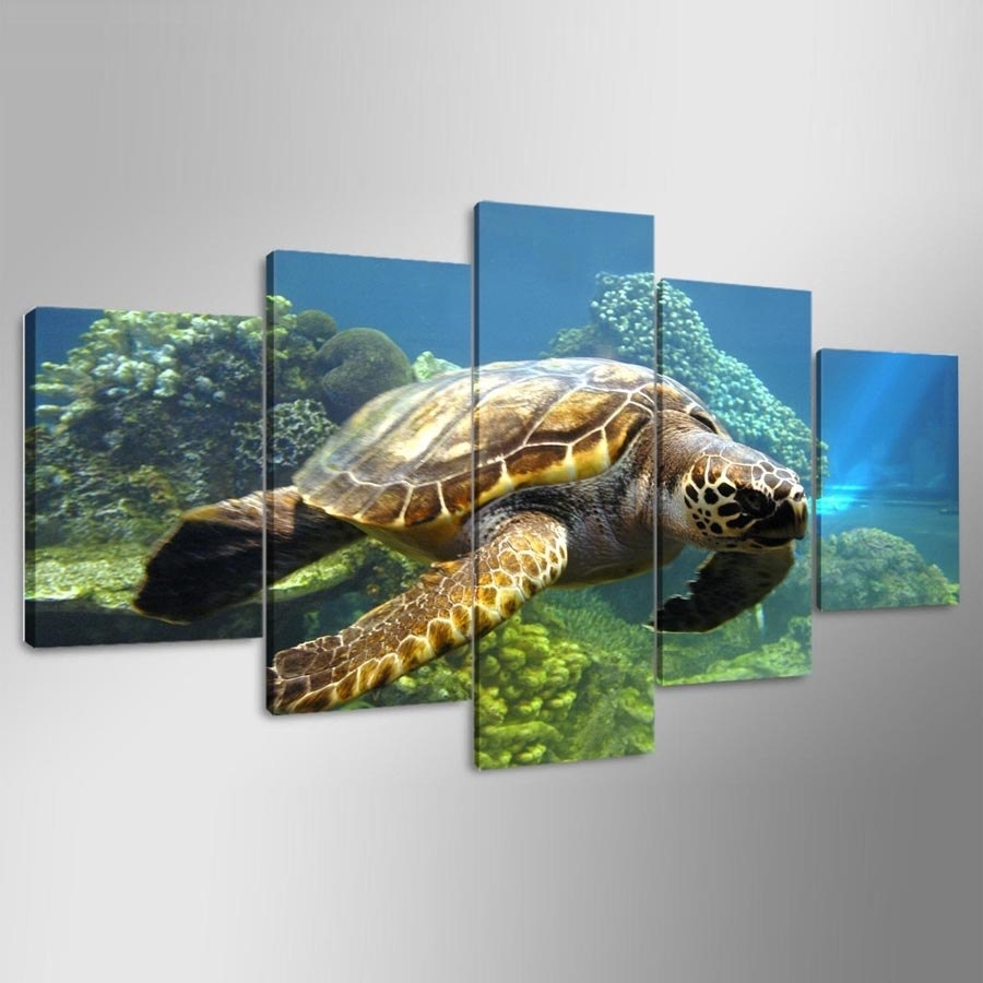 Original Oil Ink Canvas Print Sea Turtle Painting On Canvas Wall Art For Sea Turtle Canvas Wall Art (View 12 of 20)