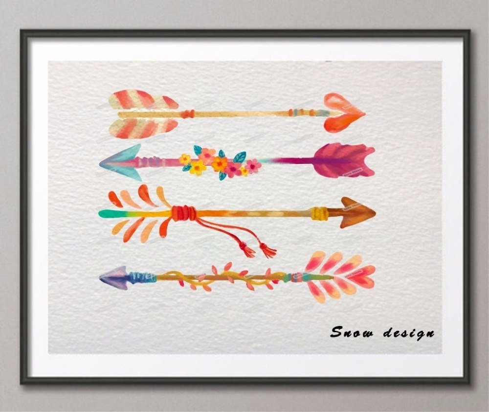 Original Watercolor Arrow Canvas Painting Giclee Wall Art Poster in Arrow Wall Art (Image 14 of 20)