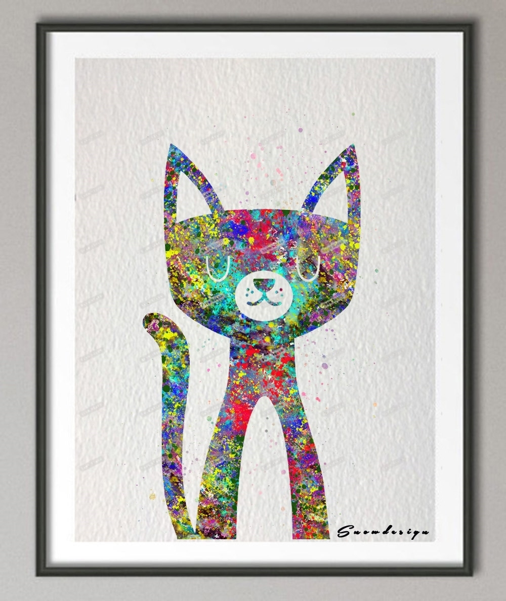 Original Watercolor Cat Canvas Painting Mordern Wall Art Poster With Cat Canvas Wall Art (View 16 of 20)