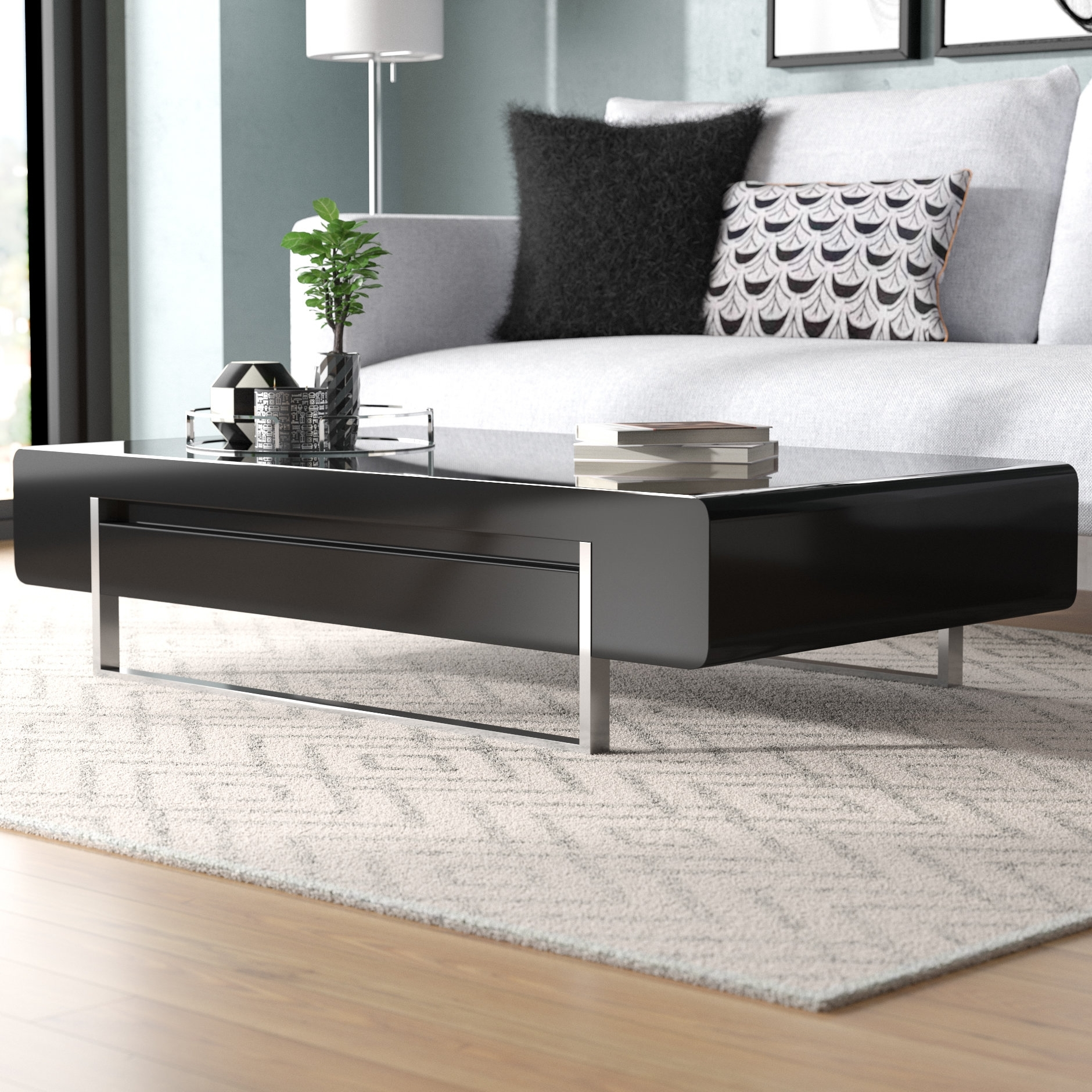 Orren Ellis Griner Modern Coffee Table & Reviews | Wayfair intended for Stack Hi-Gloss Wood Coffee Tables (Image 21 of 30)