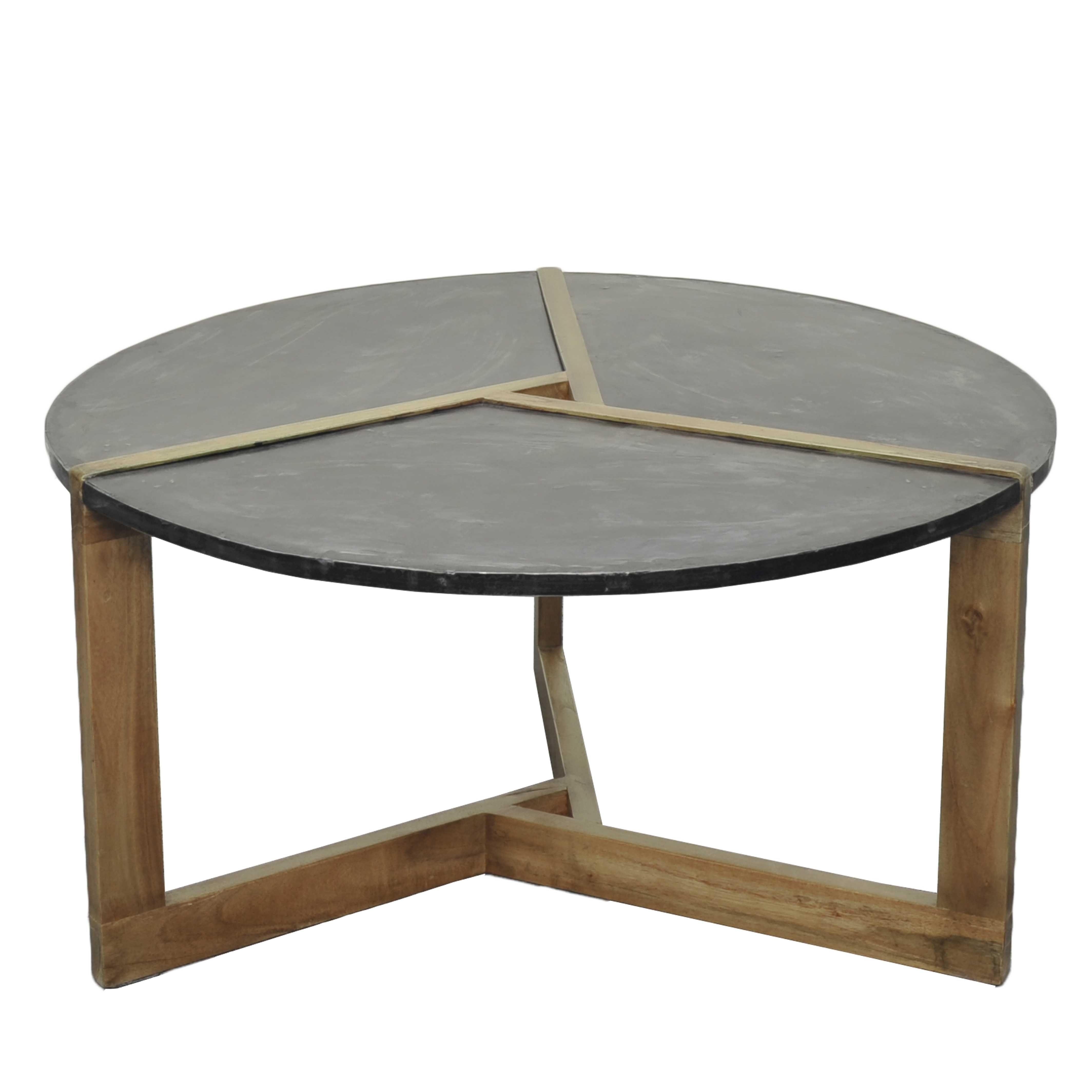 Oslo Metal Plate Coffee Table Natural Gray Base, Rustic Gray/9200004 inside Large Slab Marble Coffee Tables With Antiqued Silver Base (Image 23 of 30)