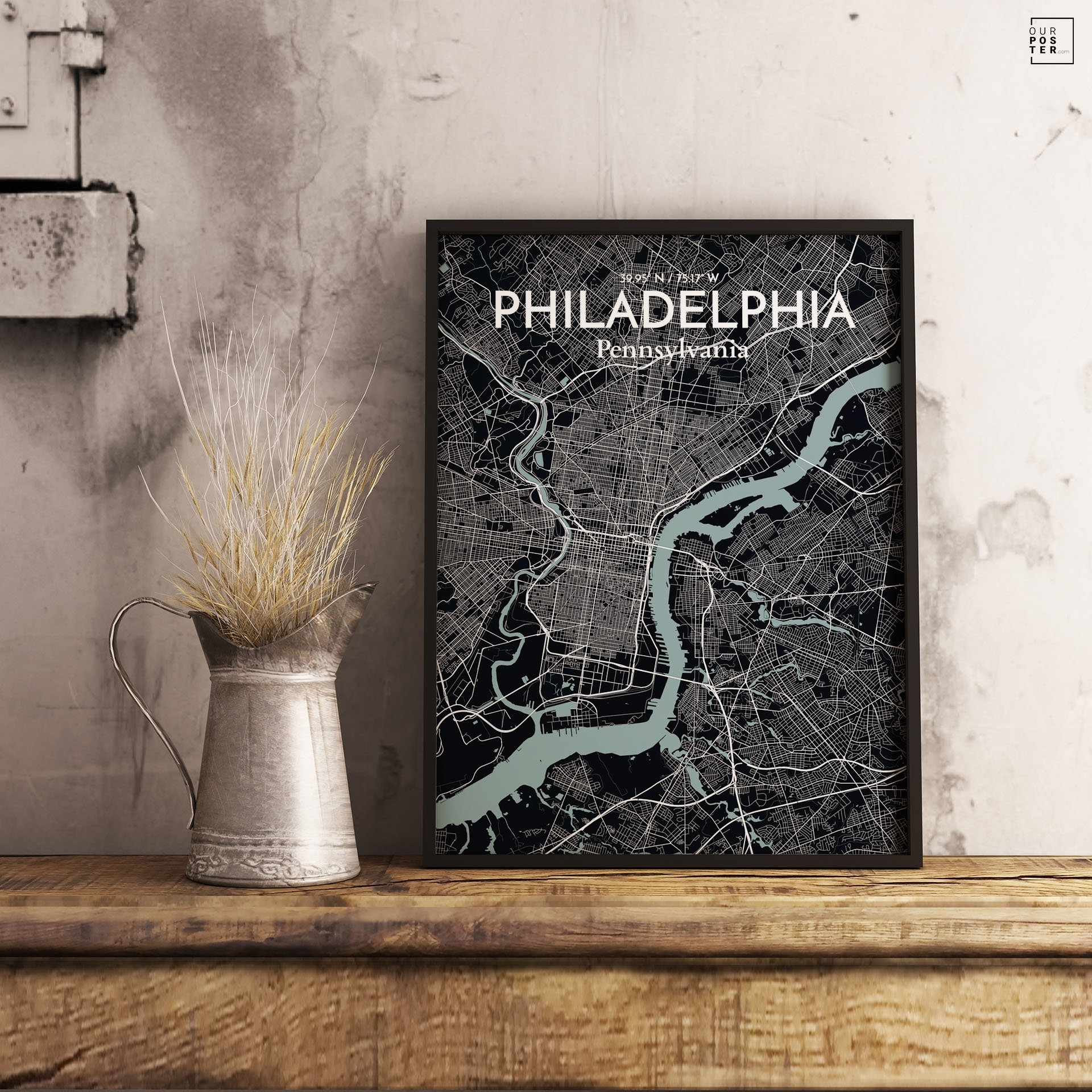 Ourposter 'philadelphia City Map' Graphic Art Print Poster In Throughout Philadelphia Map Wall Art (View 19 of 20)