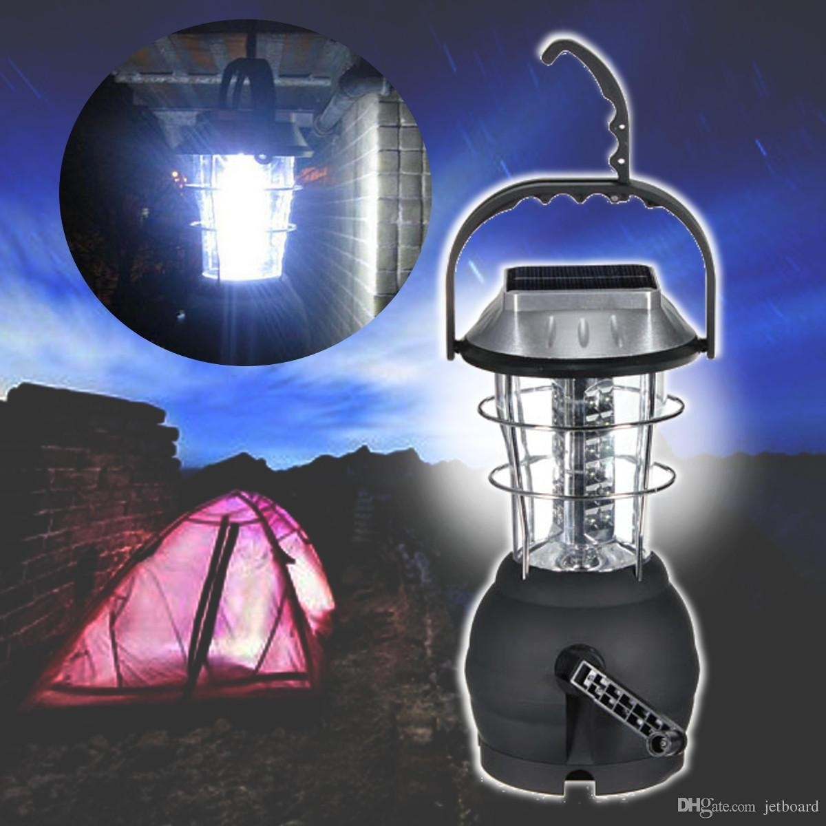 Outdoor 36 Leds Solar Light Lantern Rechargeable Tent Lamp Hand in Outdoor Rechargeable Lanterns (Image 14 of 20)