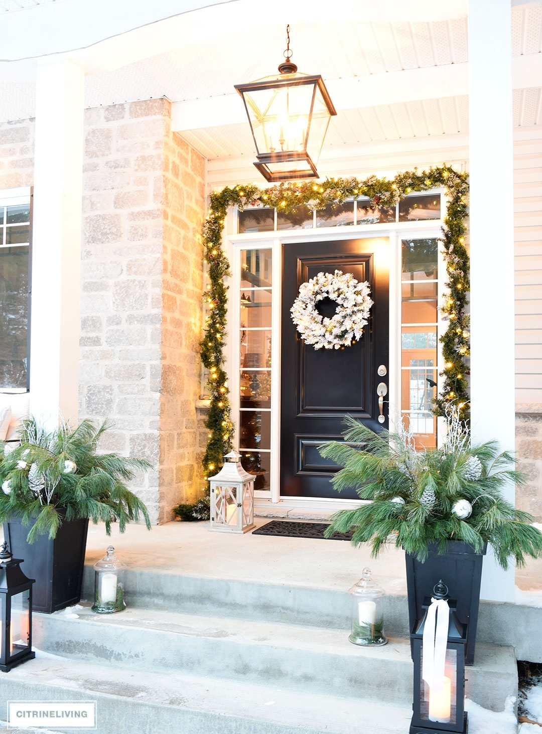 Outdoor Christmas Decor And New Lighting With The Most Stylish Front for Outdoor Lanterns for Front Porch (Image 16 of 20)