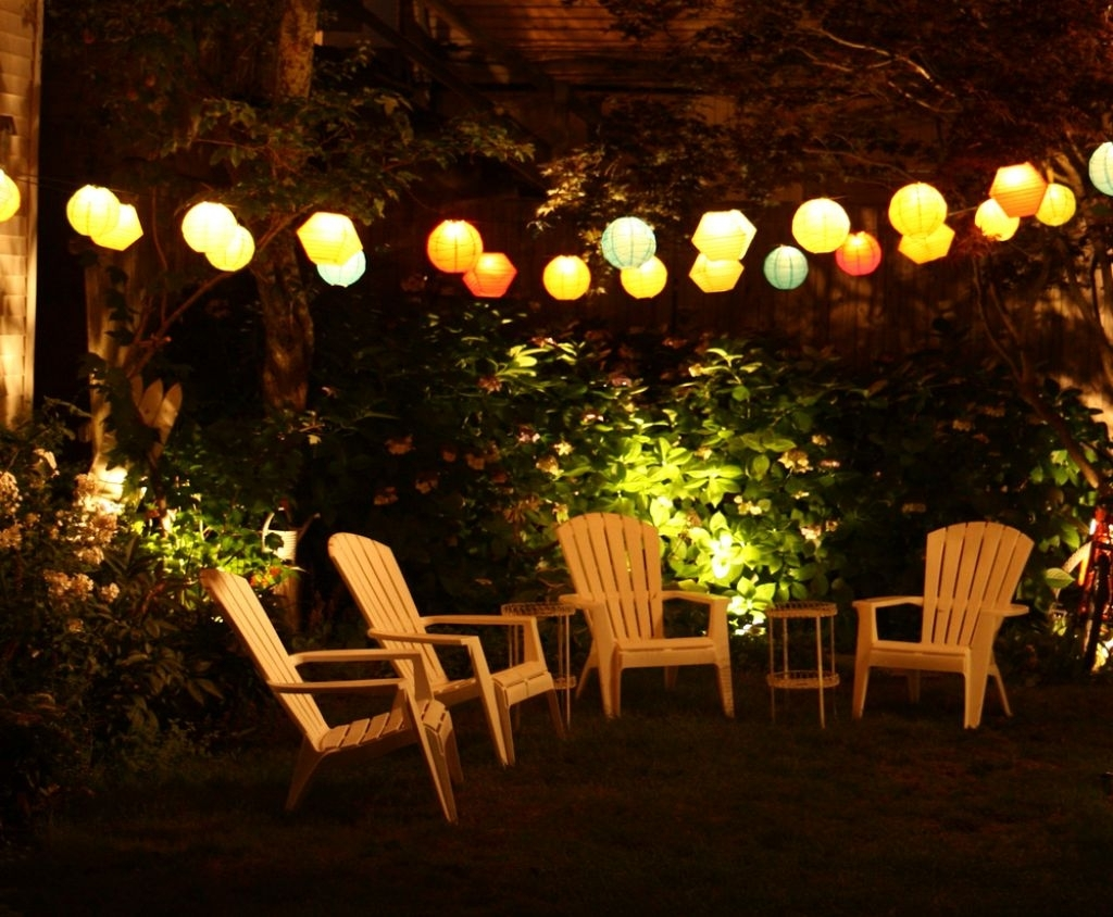 Outdoor Lamp For Patio With Teak Small Table And Colorful Lamps inside Outdoor Lamp Lanterns (Image 12 of 20)