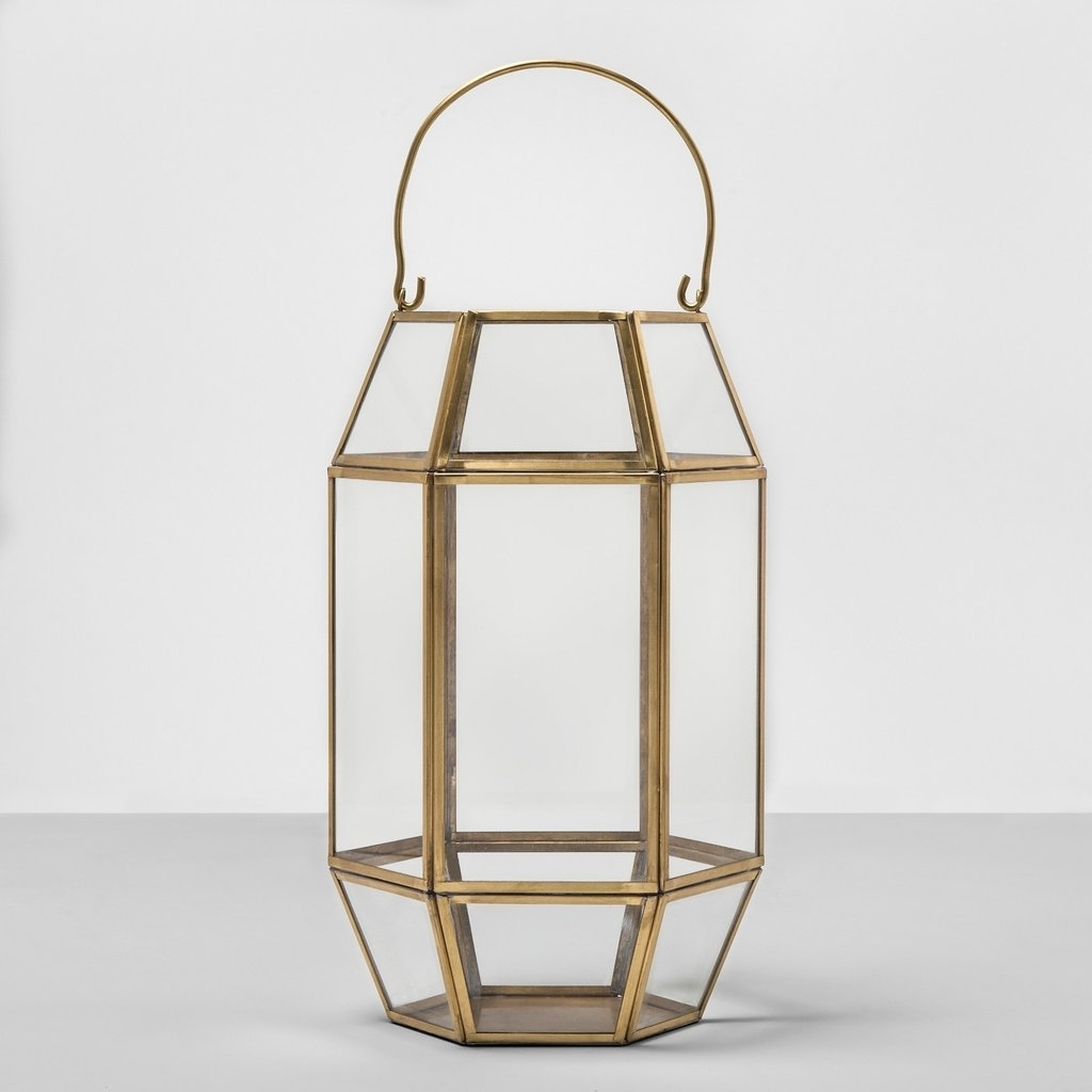 Outdoor Lantern Hexagon Glass With Gold Frame | Best Products From pertaining to Outdoor Lanterns Without Glass (Image 16 of 20)