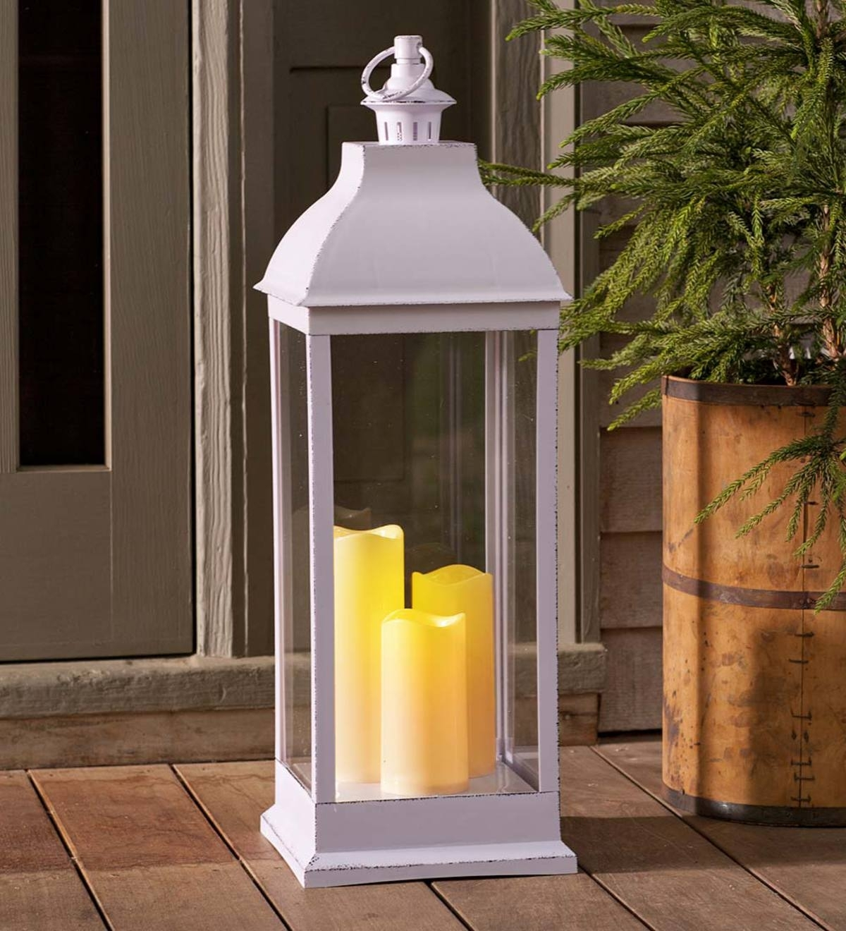 Outdoor Lantern With Led Candles | Plowhearth for Outdoor Lanterns With Flameless Candles (Image 15 of 20)