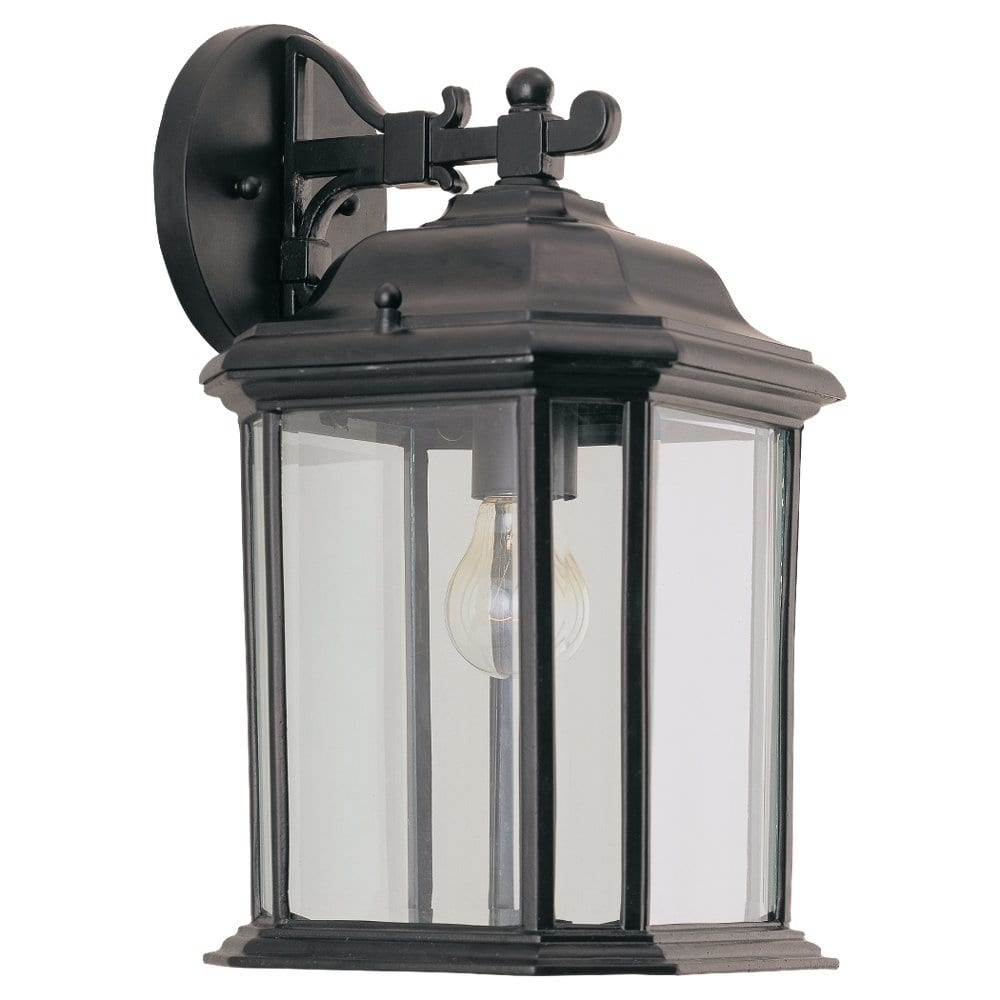 Outdoor Light Wall Lantern Clear Beveled Glass Panels Weather Pertaining To Outdoor Weather Resistant Lanterns (View 9 of 20)