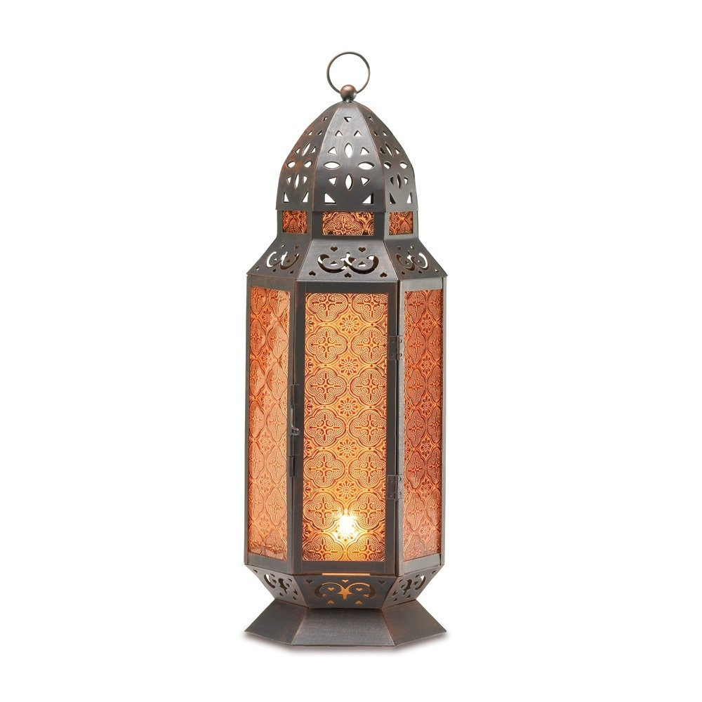 Outdoor Moroccan Lantern, Lantern Table Lamp, Tall Decorative Candle Intended For Tall Outdoor Lanterns (View 17 of 20)