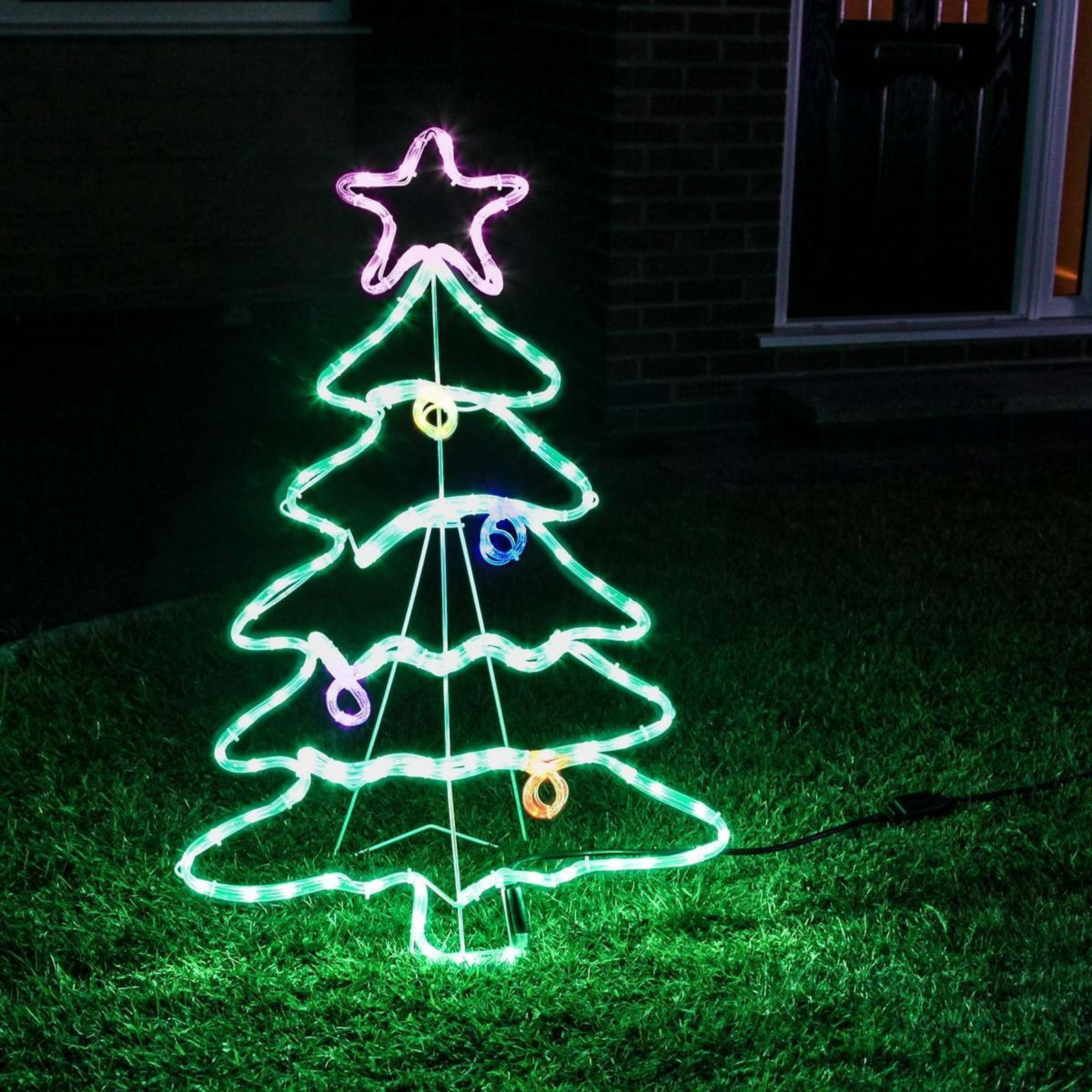 Outdoor Rope Light Christmas Tree Motif, Multi Coloured Twinkling Leds in Outdoor Christmas Rope Lanterns (Image 15 of 20)