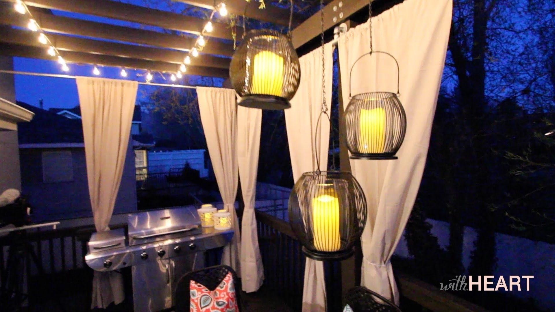 Outdoor String Lights And Hanging Lanterns | Withheart – Youtube With Regard To Outdoor Paper Lanterns For Patio (View 10 of 20)