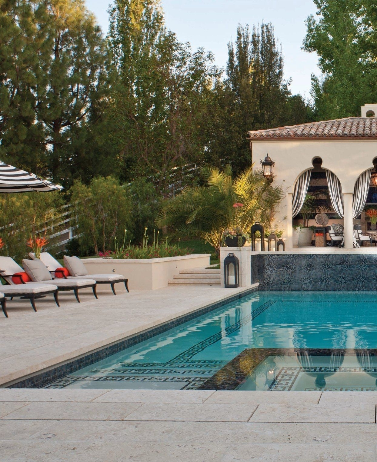 Outdoor Striped Drapes, Exterior Curtains, Greek Key Design In Pool throughout Outdoor Pool Lanterns (Image 19 of 20)