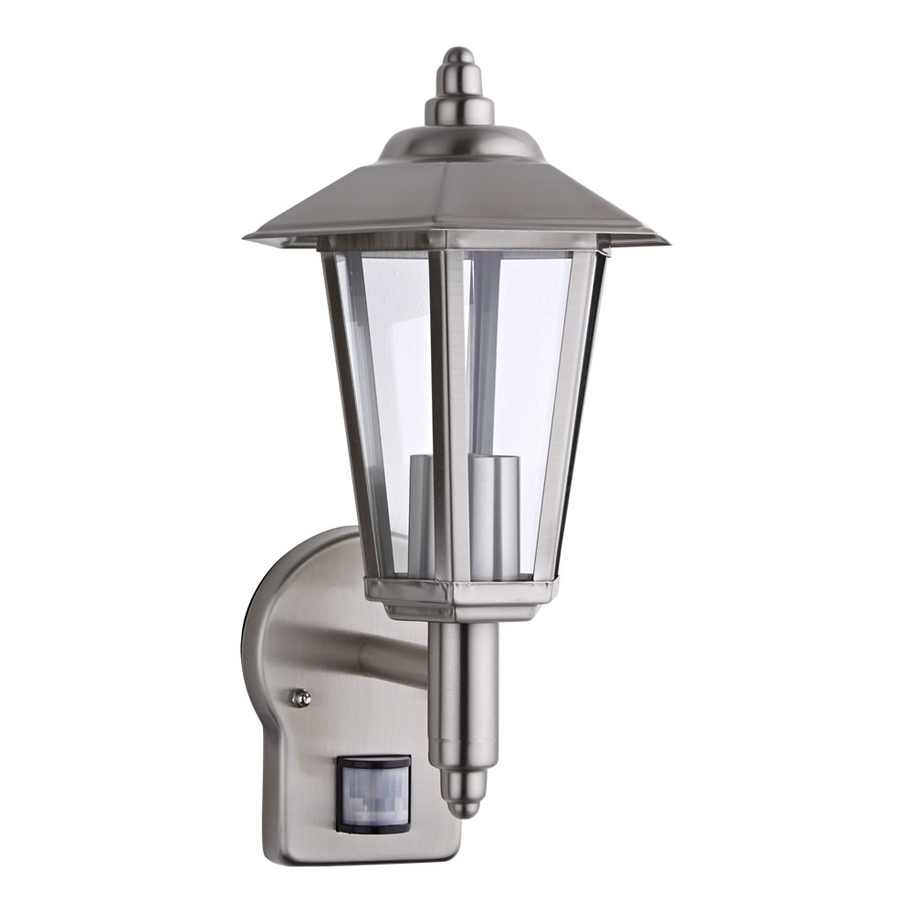 Outdoor Traditional Wall Lantern Light - Pir - Stainless Steel throughout Outdoor Pir Lanterns (Image 12 of 20)