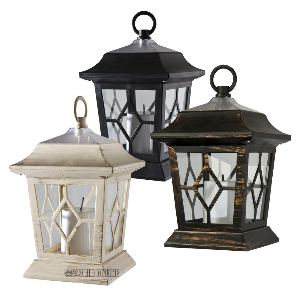 Outdoor Victorian Solar Flickering Led Candle Lanterns Coach Lights inside Outdoor Big Lanterns (Image 15 of 20)