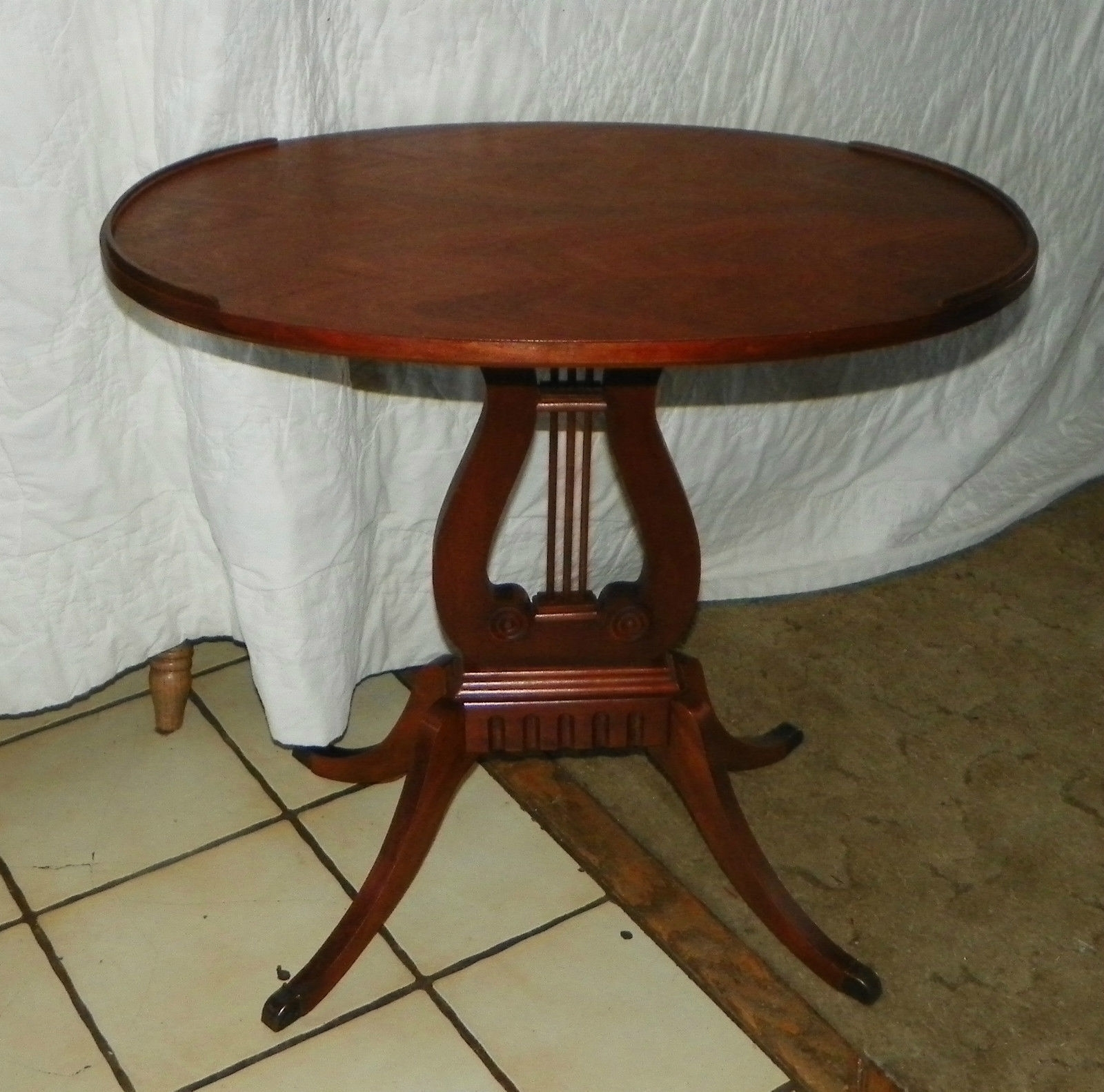 Oval Mahogany Lyre Base End Table / Side And 50 Similar Items pertaining to Lyre Coffee Tables (Image 25 of 30)