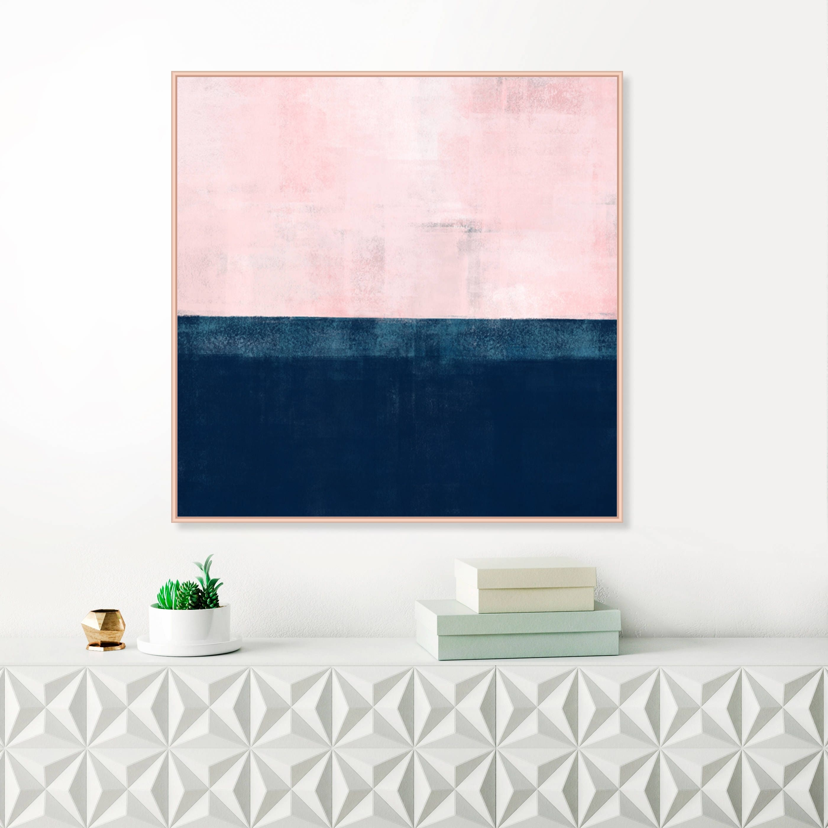 Oversized Pink And Navy Blue Abstract Wall Art, Pink And Indigo with Pink Wall Art (Image 16 of 20)