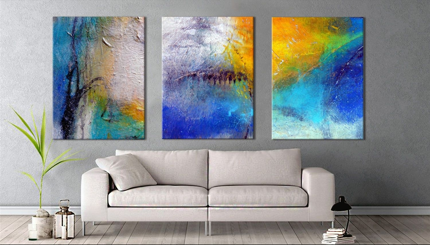 Oversized Wall Art | Triptych Abstract Paintings | Large Canvas Art inside Extra Large Wall Art (Image 14 of 20)