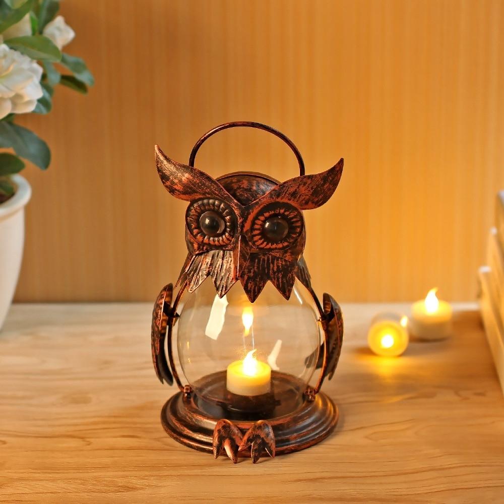Owl Tealight Holder Hurricane Candleholders, Hanging Lantern For regarding Outdoor Hurricane Lanterns (Image 14 of 20)