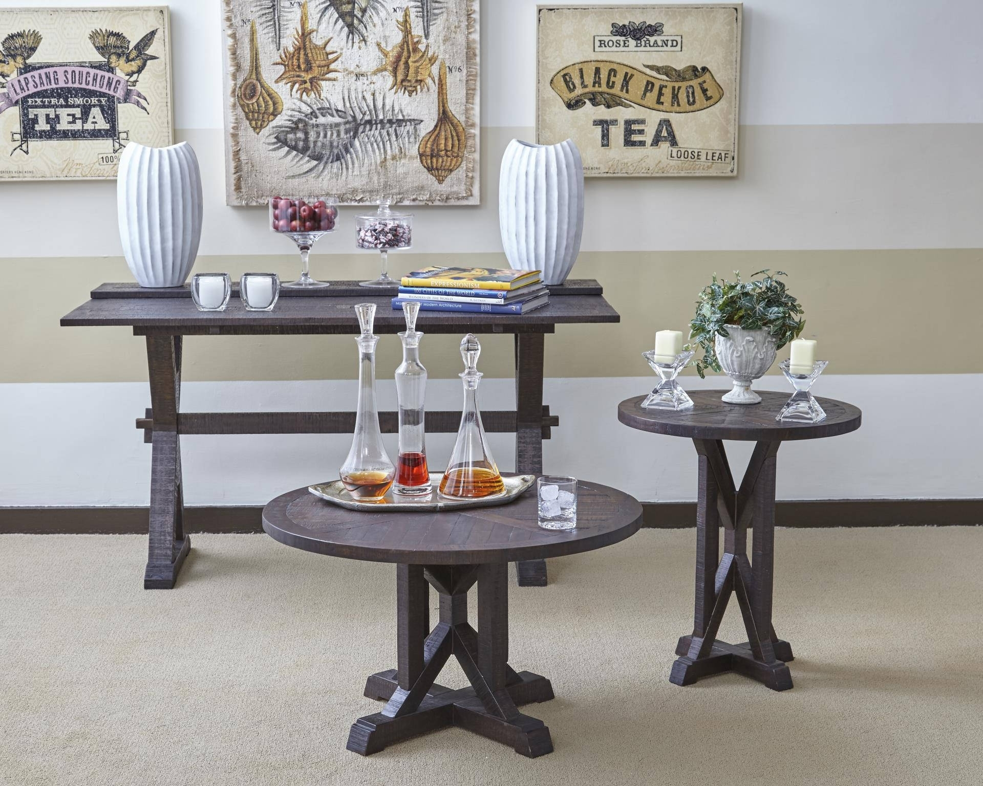Pacific Heights Dark Coffee Solid Wood 3Pc Coffee Table Set | The for Expressionist Coffee Tables (Image 20 of 30)
