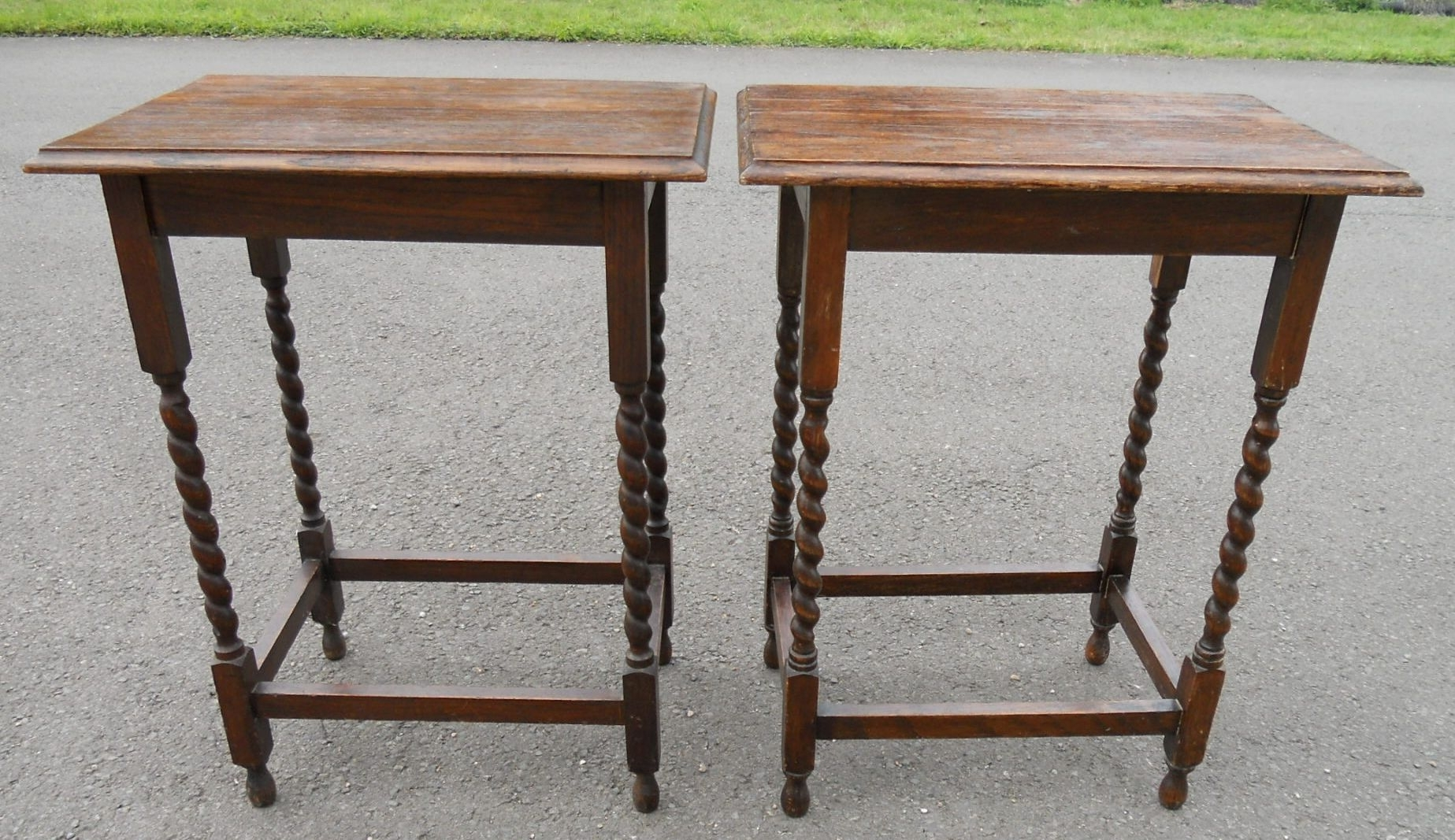 Pair Oak Barley Twist Leg Side Tables in Barley Twist Coffee Tables (Image 20 of 30)
