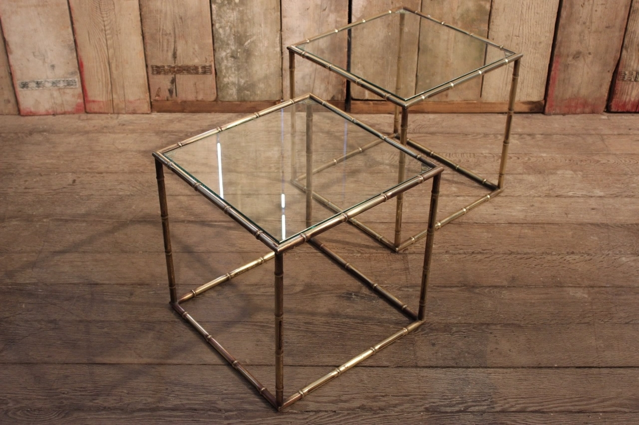 Pair Of 1950S Faux Bamboo Cube Brass Sofa Tables - Furniture with Brass Iron Cube Tables (Image 23 of 30)