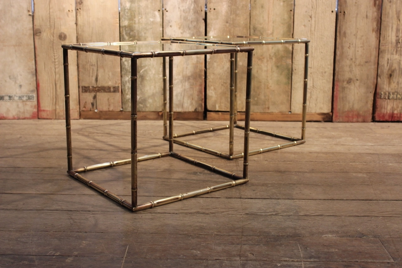 Pair Of 1950S Faux Bamboo Cube Brass Sofa Tables - Occasional Tables pertaining to Brass Iron Cube Tables (Image 24 of 30)