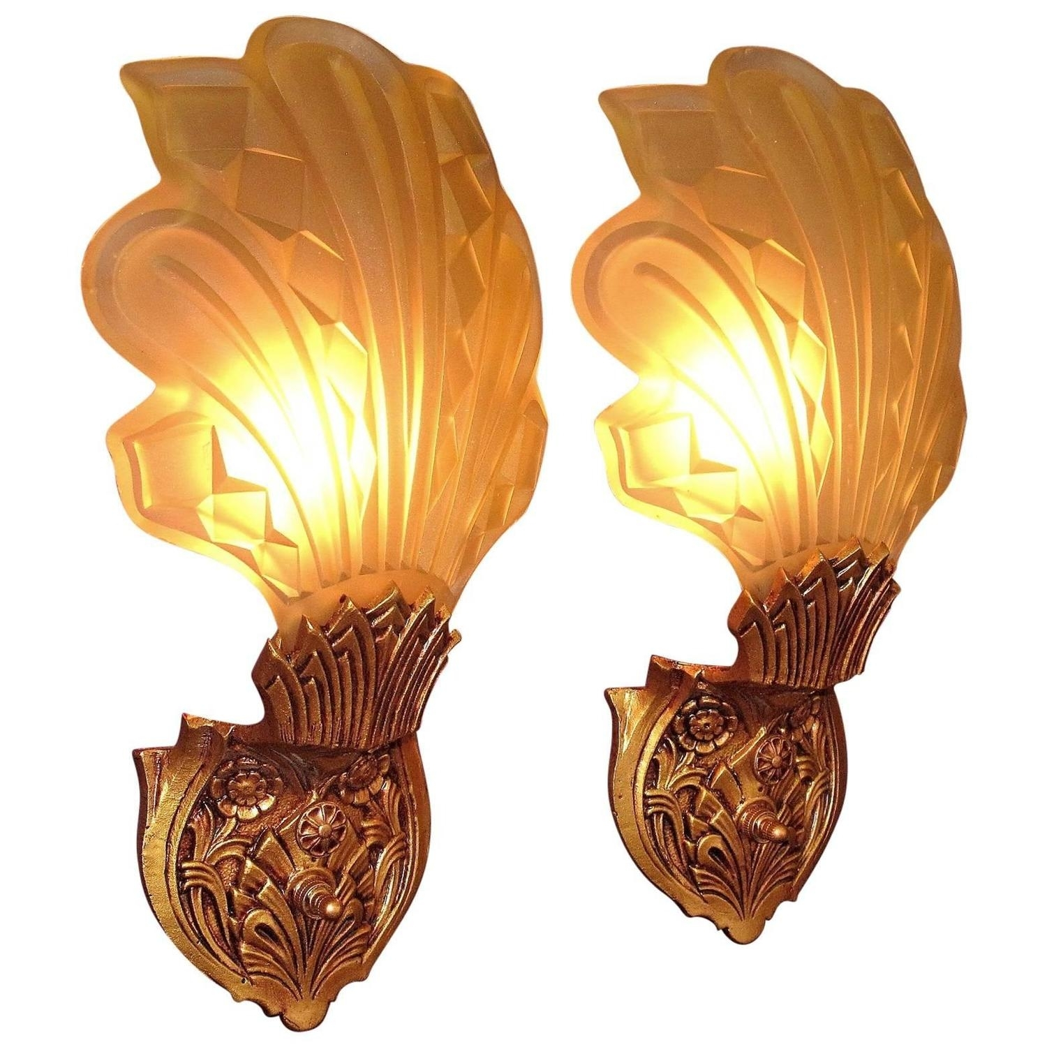 Pair Of Art Deco Bent Stained Glass Theatre Wall Sconces Floral pertaining to Art Deco Wall Sconces (Image 14 of 20)