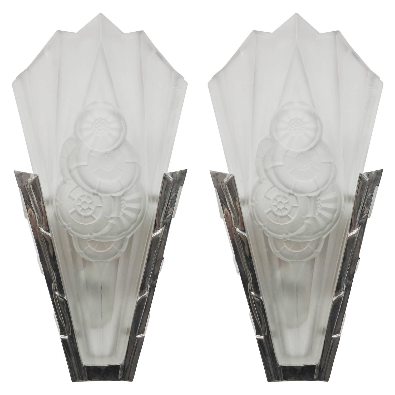 Pair Of French Art Deco Wall Sconces Signeddegue For Sale At 1Stdibs intended for Art Deco Wall Sconces (Image 16 of 20)