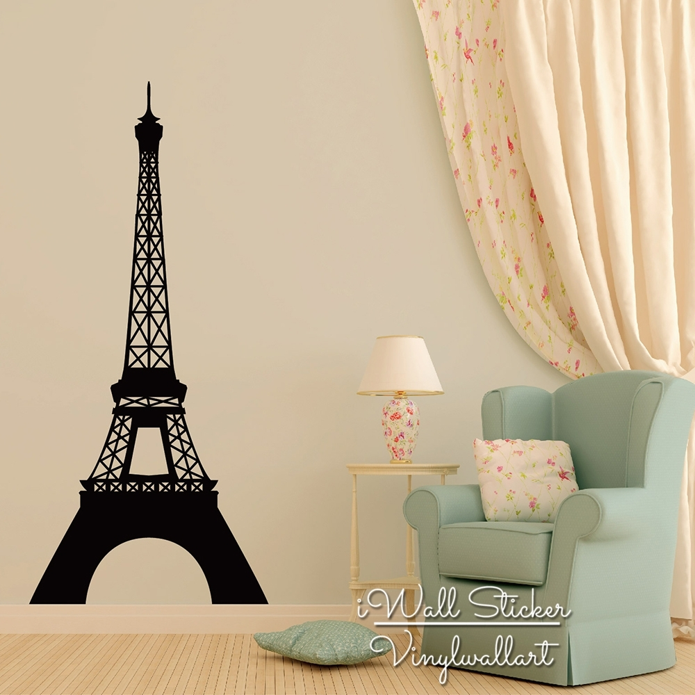 Pairs Tower Wall Sticker Modern Eiffel Tower Wall Decals Modern With Regard To Eiffel Tower Wall Art (Photo 4 of 20)