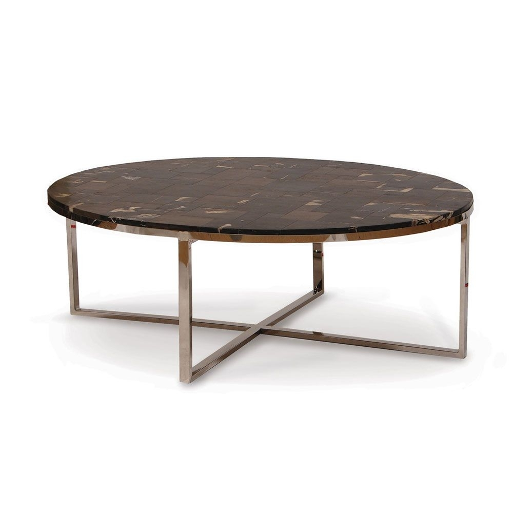 Palecek Mosaic Oval Petrifiedwood Black Coffee Table | Furniture You with regard to Parker Oval Marble Coffee Tables (Image 17 of 30)